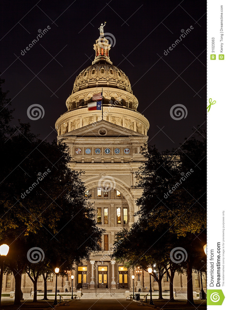 State Capital Of Texas At Night Stock Image Image Of Politics