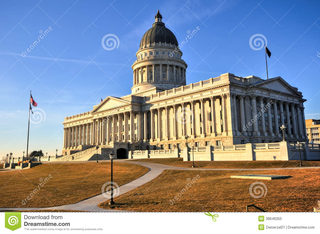 State of utah building with flag royalty free stock photo Building a house in utah