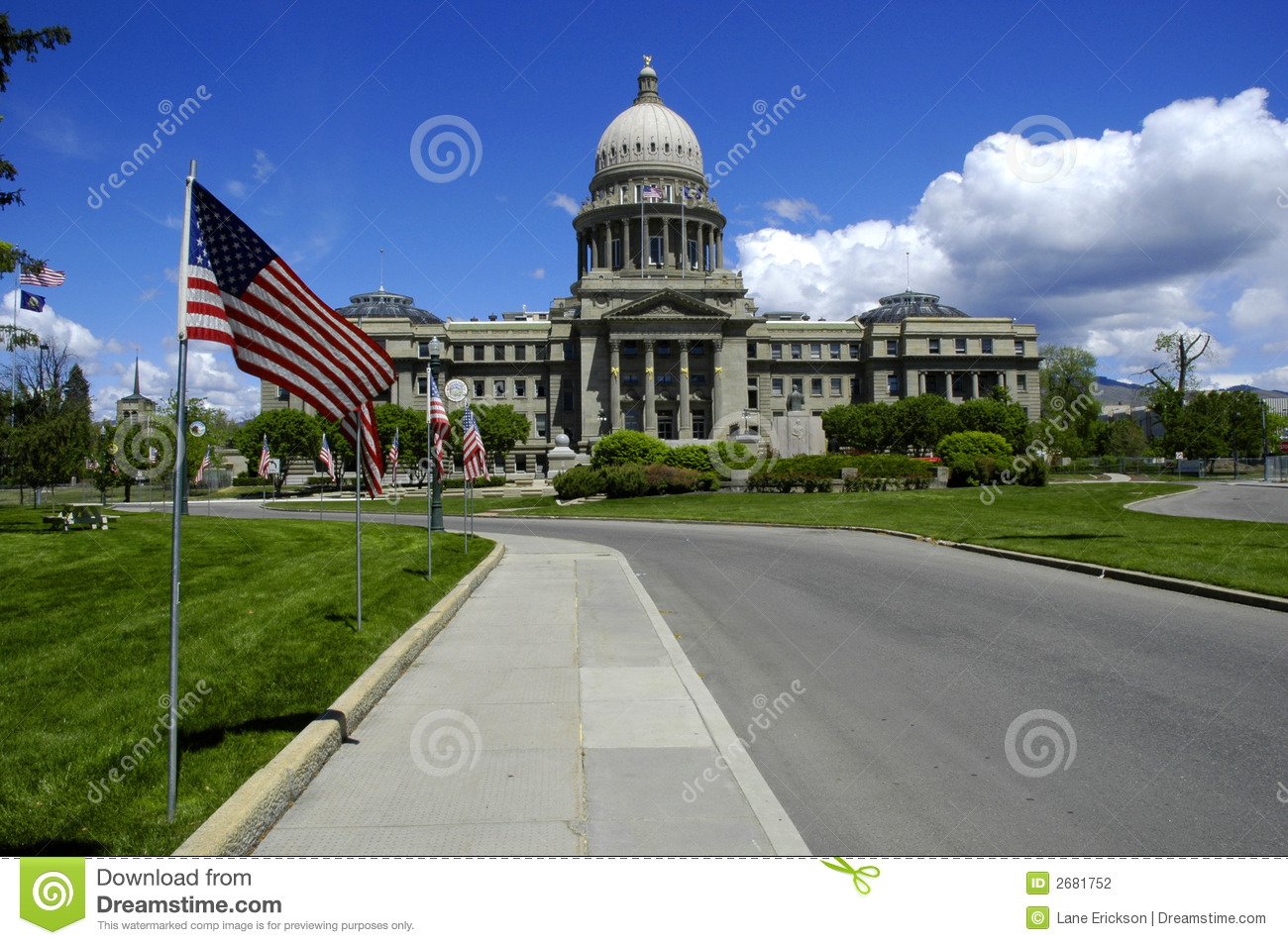 Download State Capitol with Flags stock photo. Image of autumn - 2681752