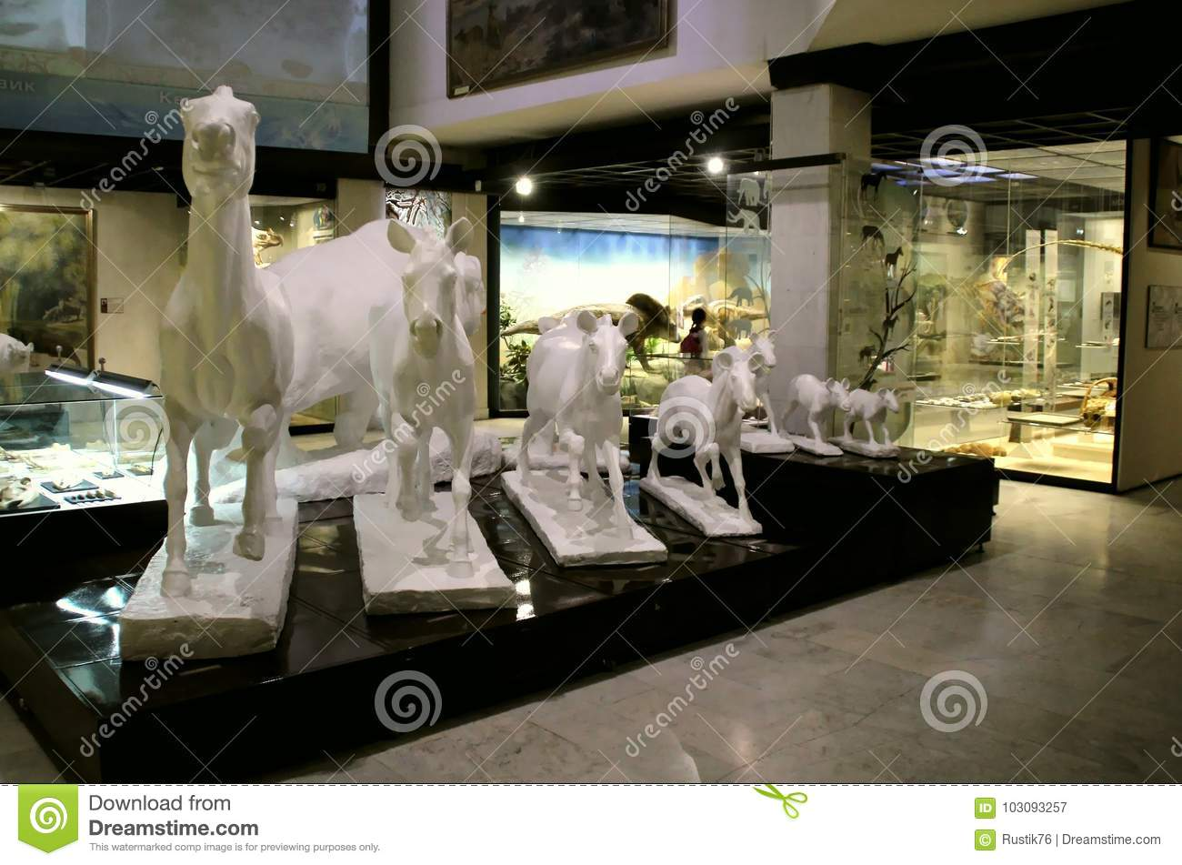Sculpture of extinct animals.