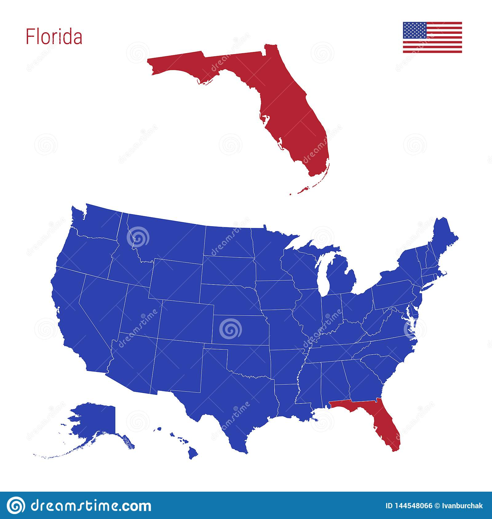 United States Map Florida.The State Of Florida Is Highlighted In Red Vector Map Of The United
