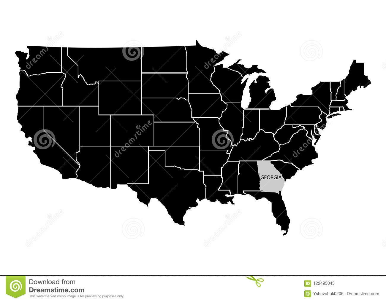 Georgia On Usa Map.State Georgia On Usa Territory Map White Background Vector