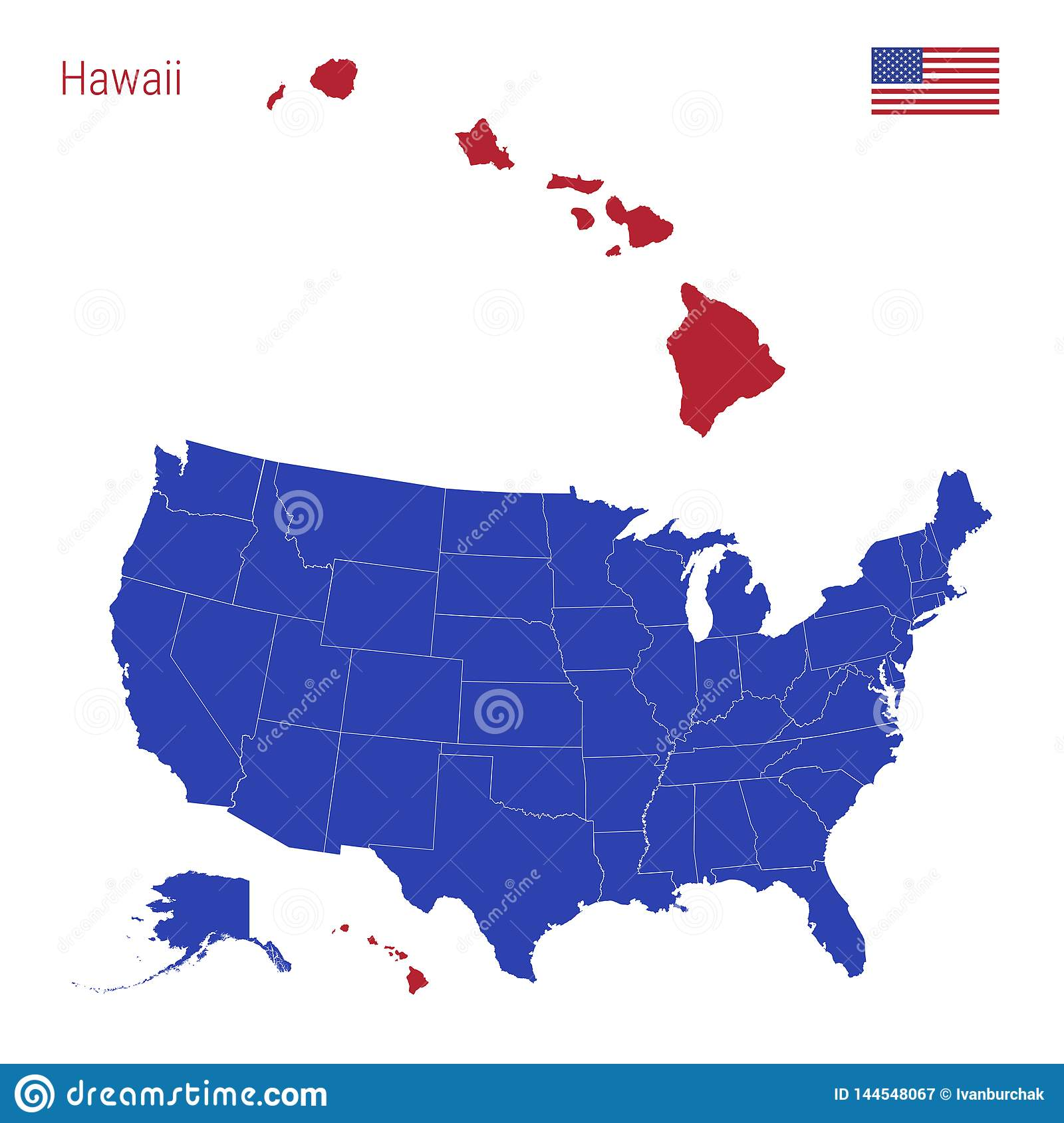 The State Of Hawaii Is Highlighted In Red. Vector Map Of The United ...