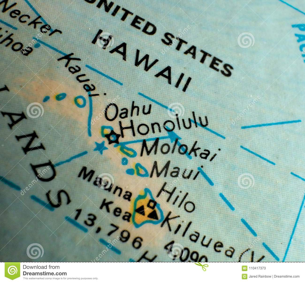 State Of Hawaii Map Usa Focus Macro Shot On Globe For Travel Blogs