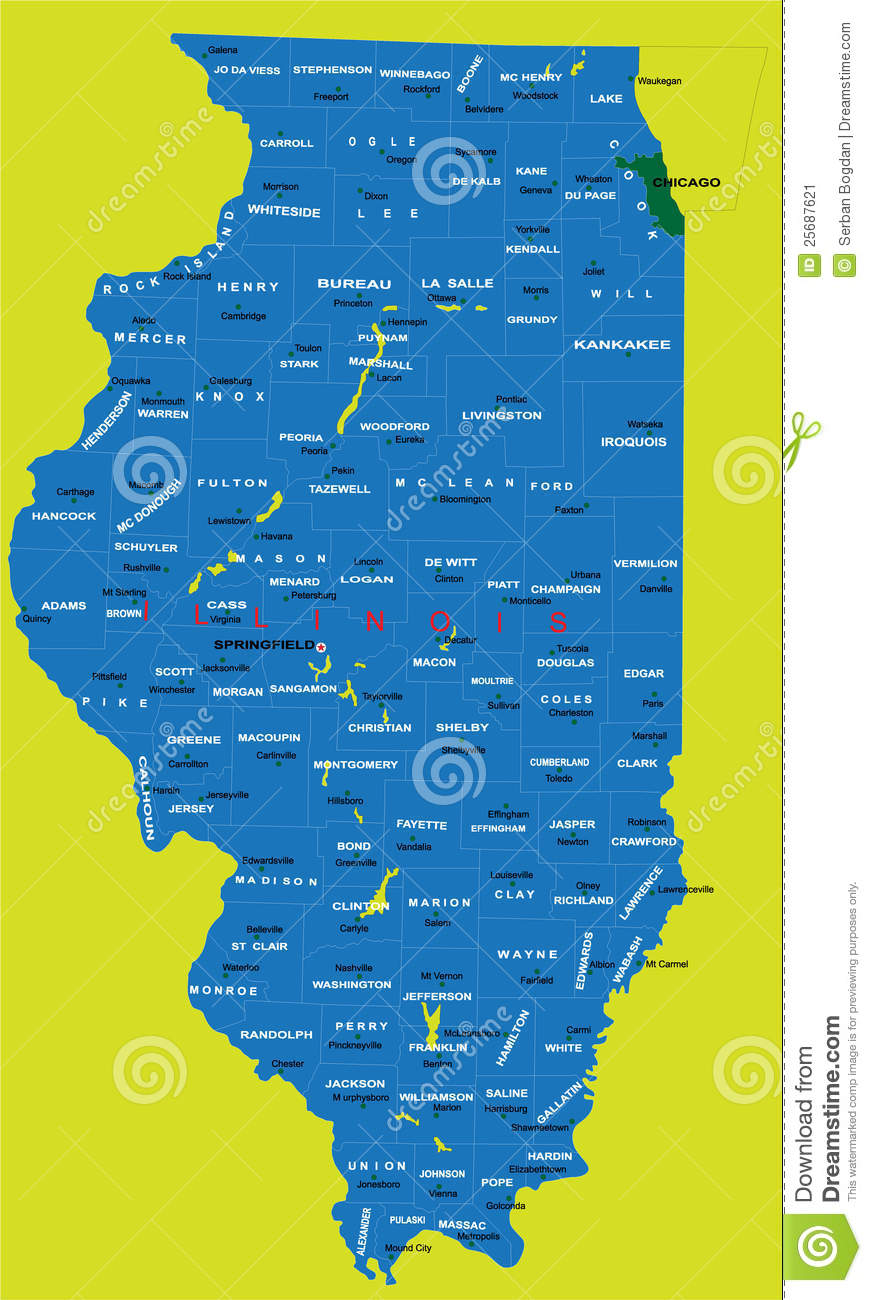 State Of Illinois Political Map Stock Image Image - Map of the state of illinois