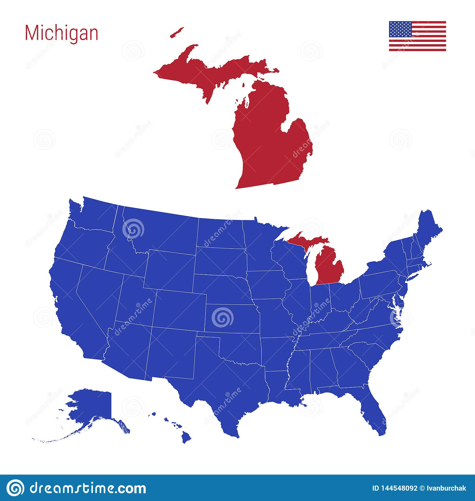 The State Of Michigan Is Highlighted In Red. Vector Map Of The ...