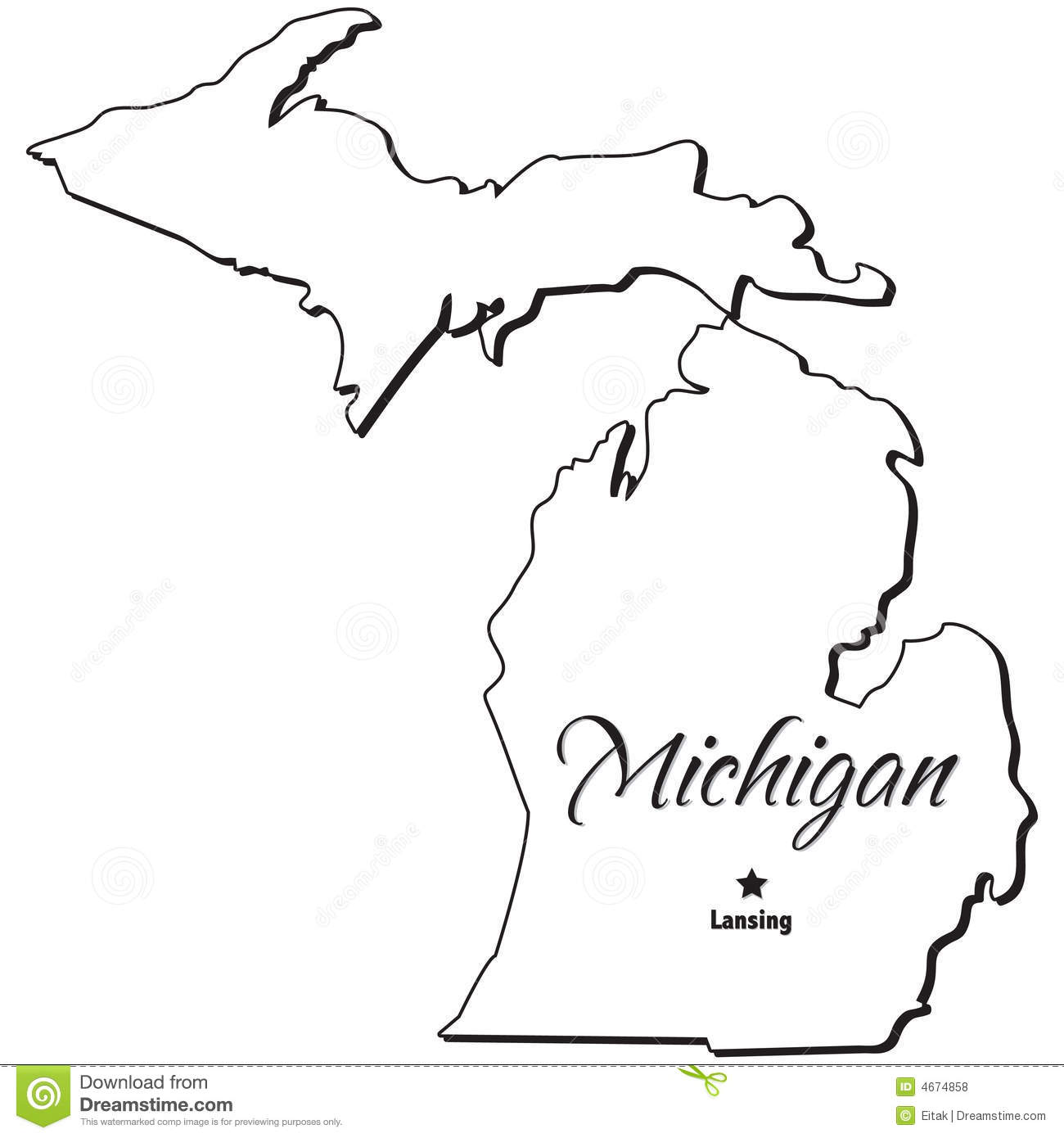 State Of Michigan Outline Illustration 4674858 - Megapixl