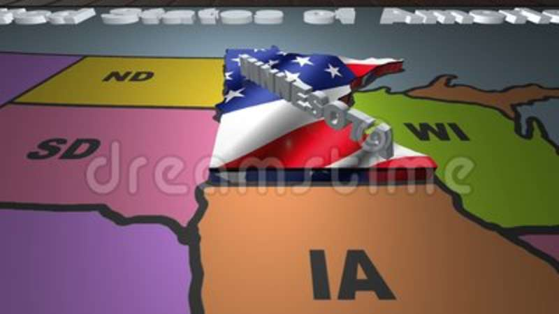 Minnesota Pull Out From USA States Abbreviations Map Stock Footage