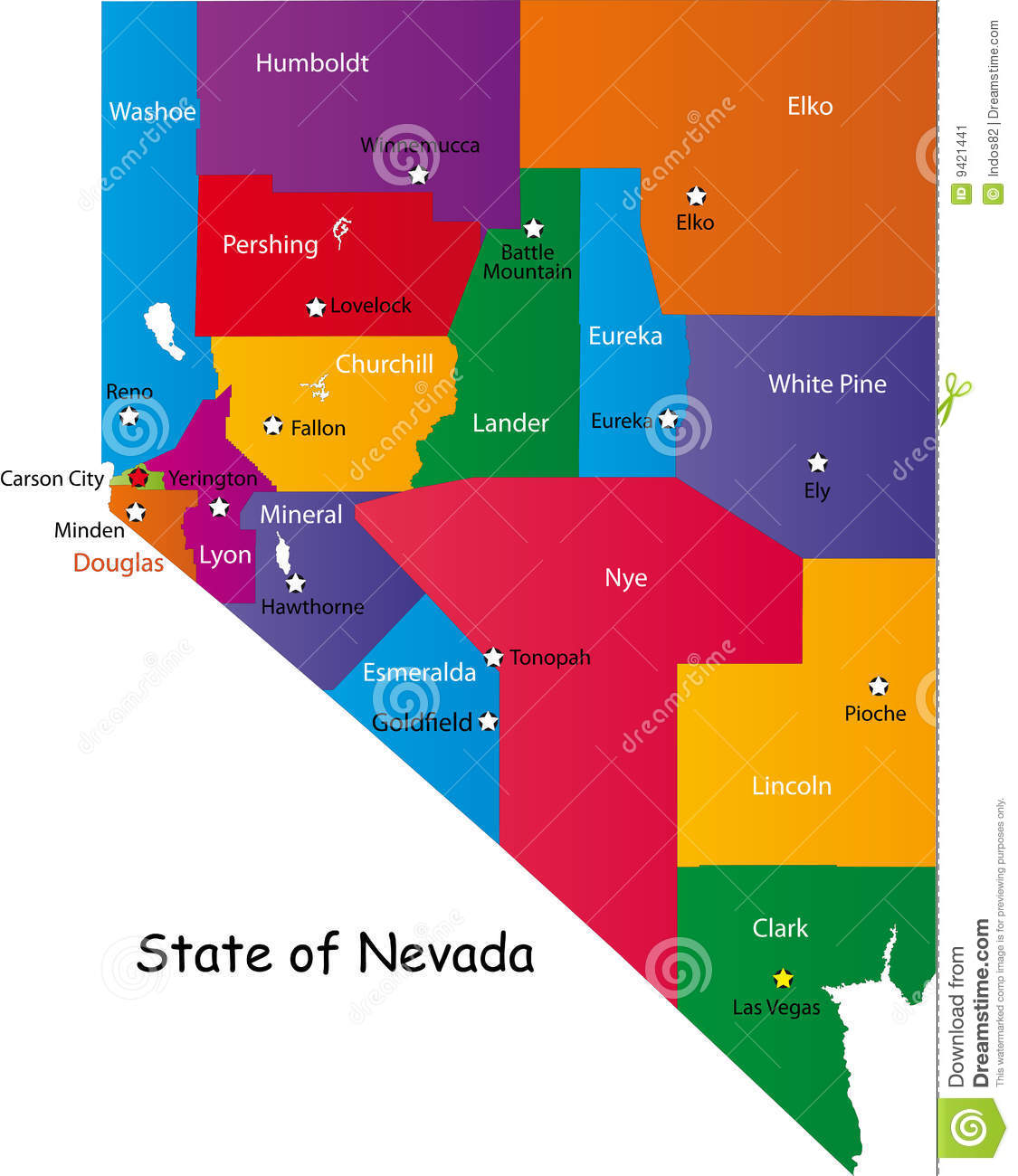 State Of Nevada Stock Image Image - Map of nevada county