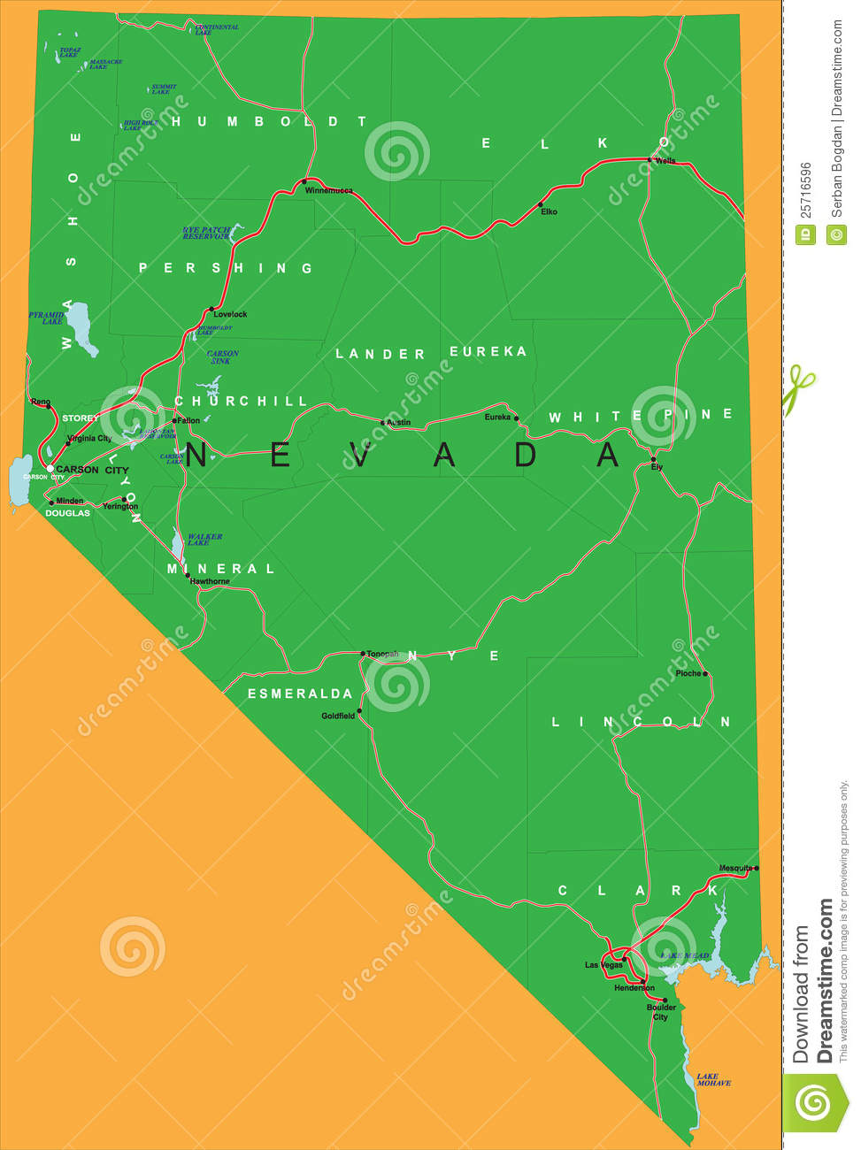 State Of Nevada Political Map Stock Vector Illustration Of