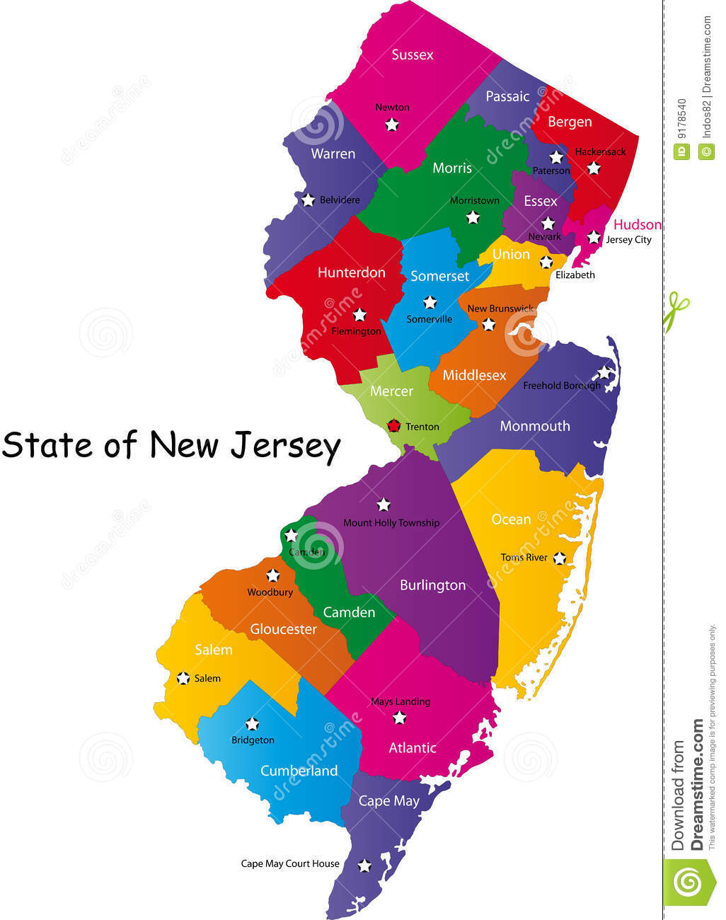 State Of New Jersey Stock Photo Image - Map of the state of new jersey