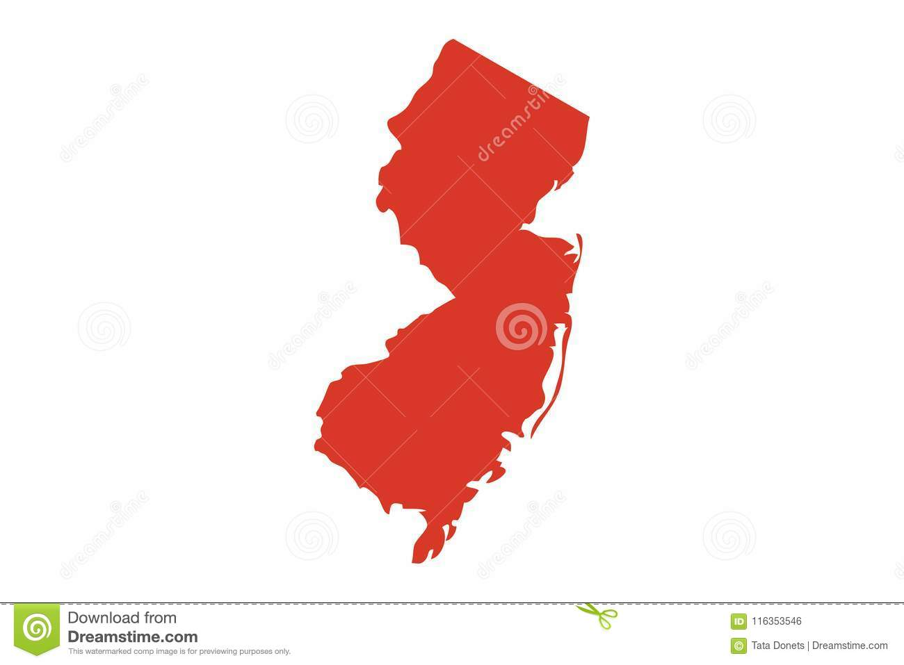 State of New Jersey vector map silhouette. Outline NJ shape icon or contour map of the State of New Jersey