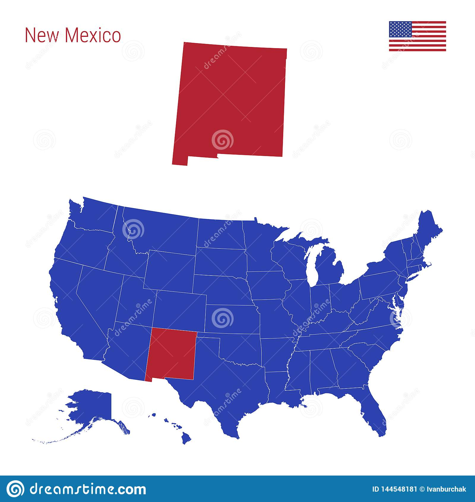 The State Of New Mexico Is Highlighted In Red. Vector Map Of ...