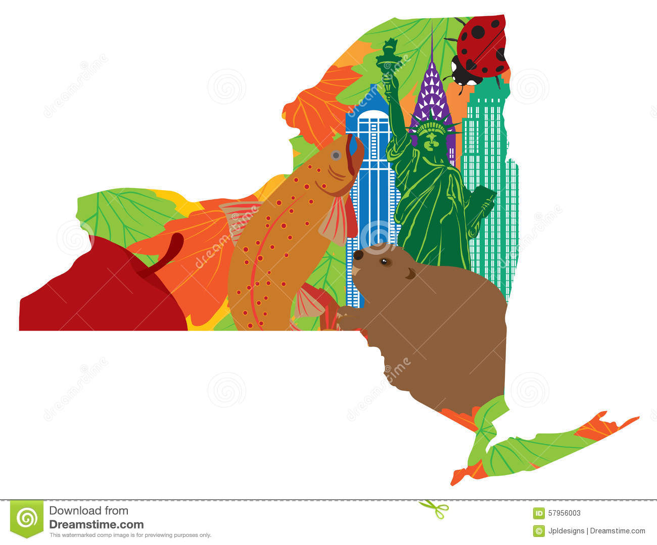 State Of New York Official Map Symbols Vector Illustration Stock
