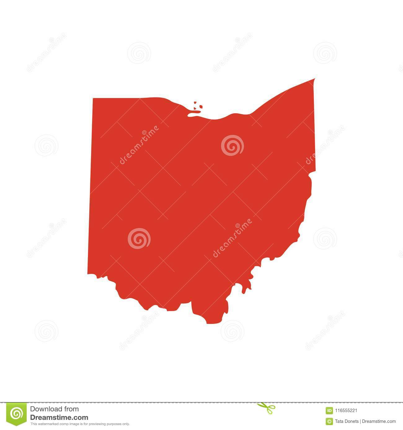 State Of Ohio Vector Map Silhouette Oh State Shape Icon Outline