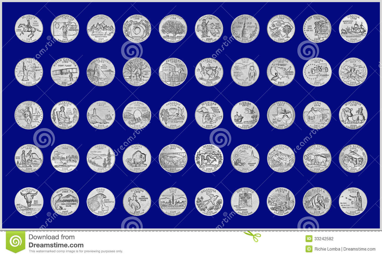Illustration of all 50 state quarters with silvery grunge appearance,a ...