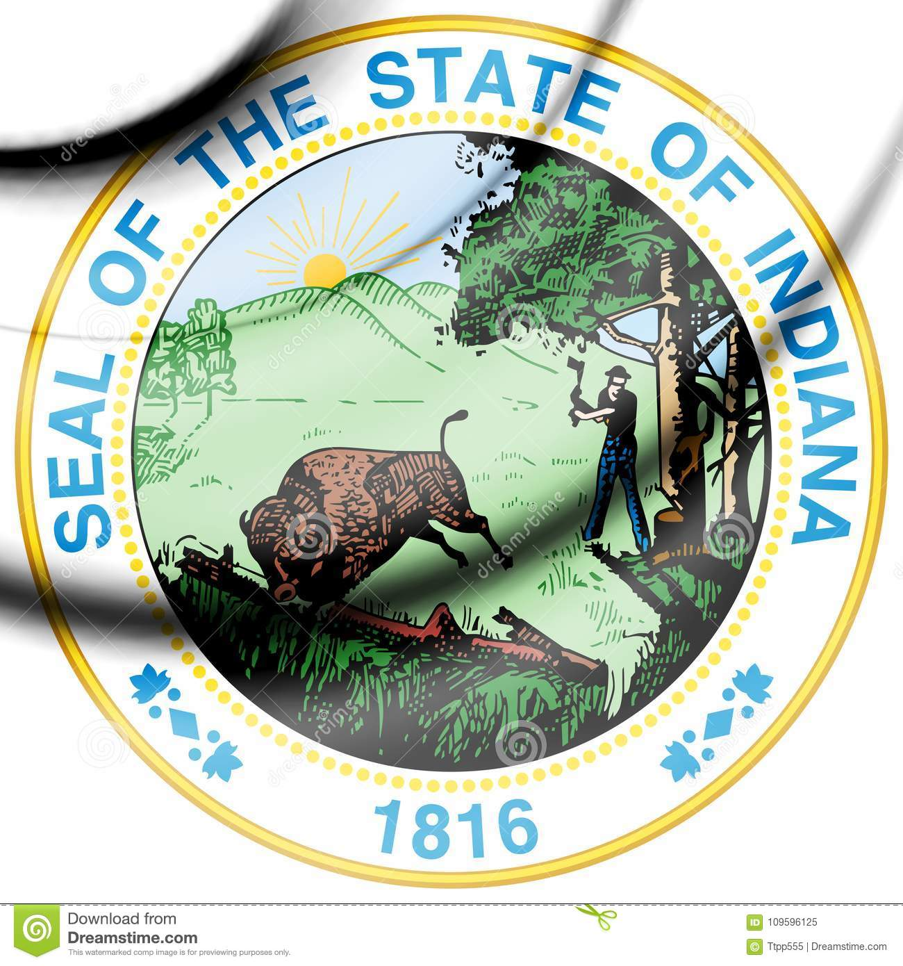 State Seal Of Indiana Usa Stock Illustration Illustration Of Artificial Rendered 109596125