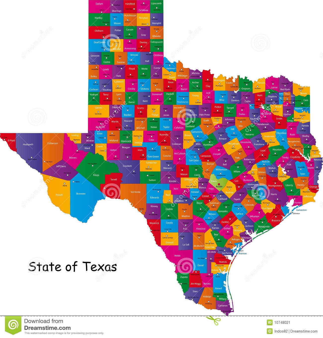 State Of Texas Counties Map.State Of Texas Stock Vector Illustration Of Isolated 10748021