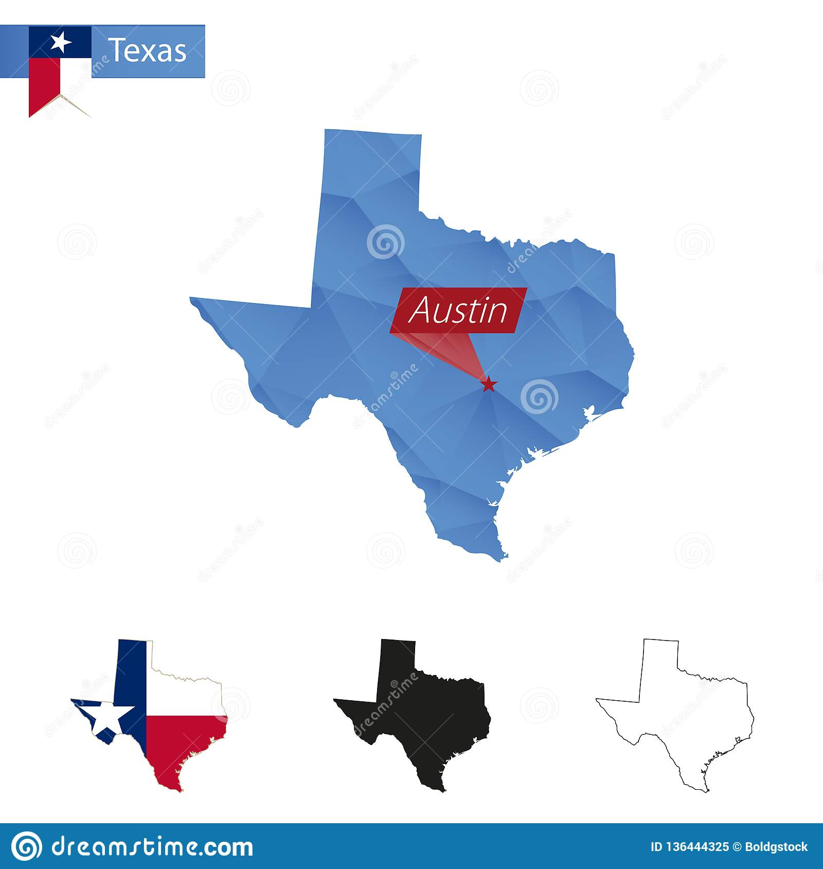 Detail Map Of Texas.State Of Texas Blue Low Poly Map With Capital Austin Stock Vector