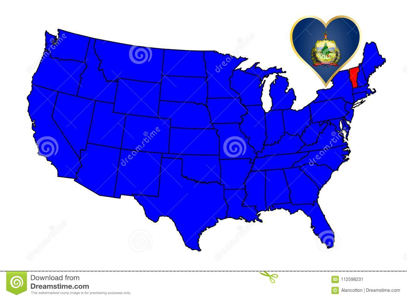 Map Of America Vermont.State Of Vermont Stock Vector Illustration Of Outline 112598231