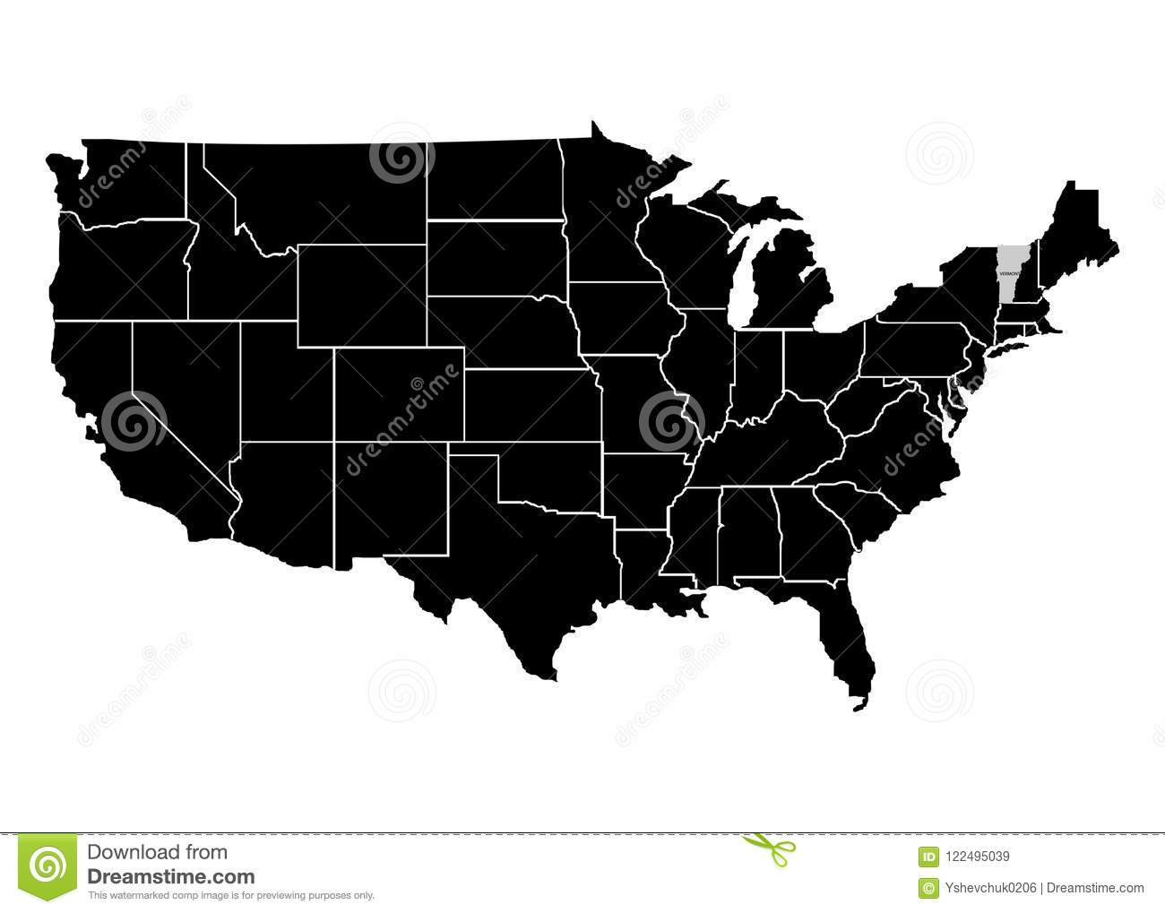 State Vermont On USA Territory Map. White Background. Vector ...