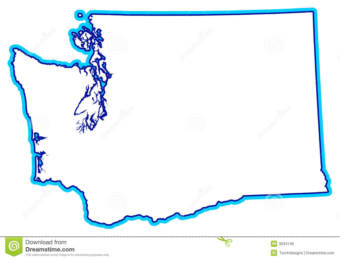 State Of Washington Outline Royalty Free Stock Photo