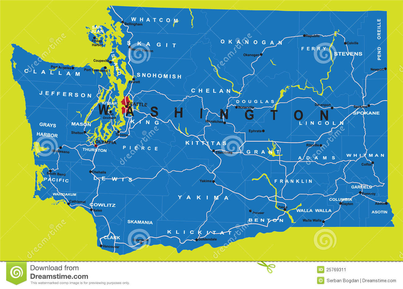 State Of Washington Political Map Stock Image Image - Washington political map