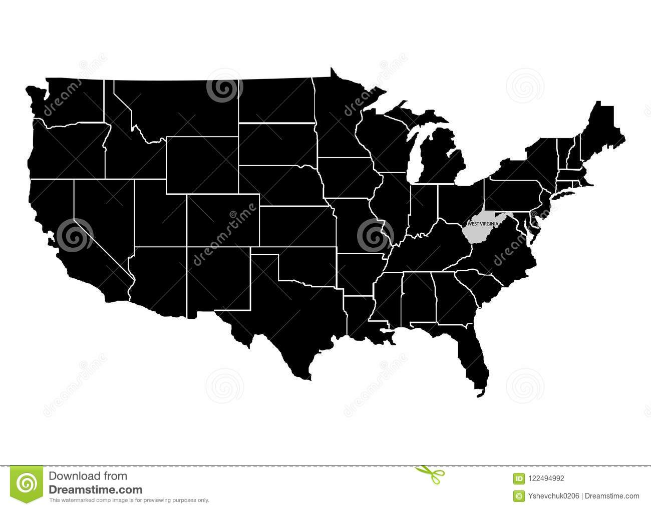 State West Virginia On USA Territory Map. White Background. Vector ...