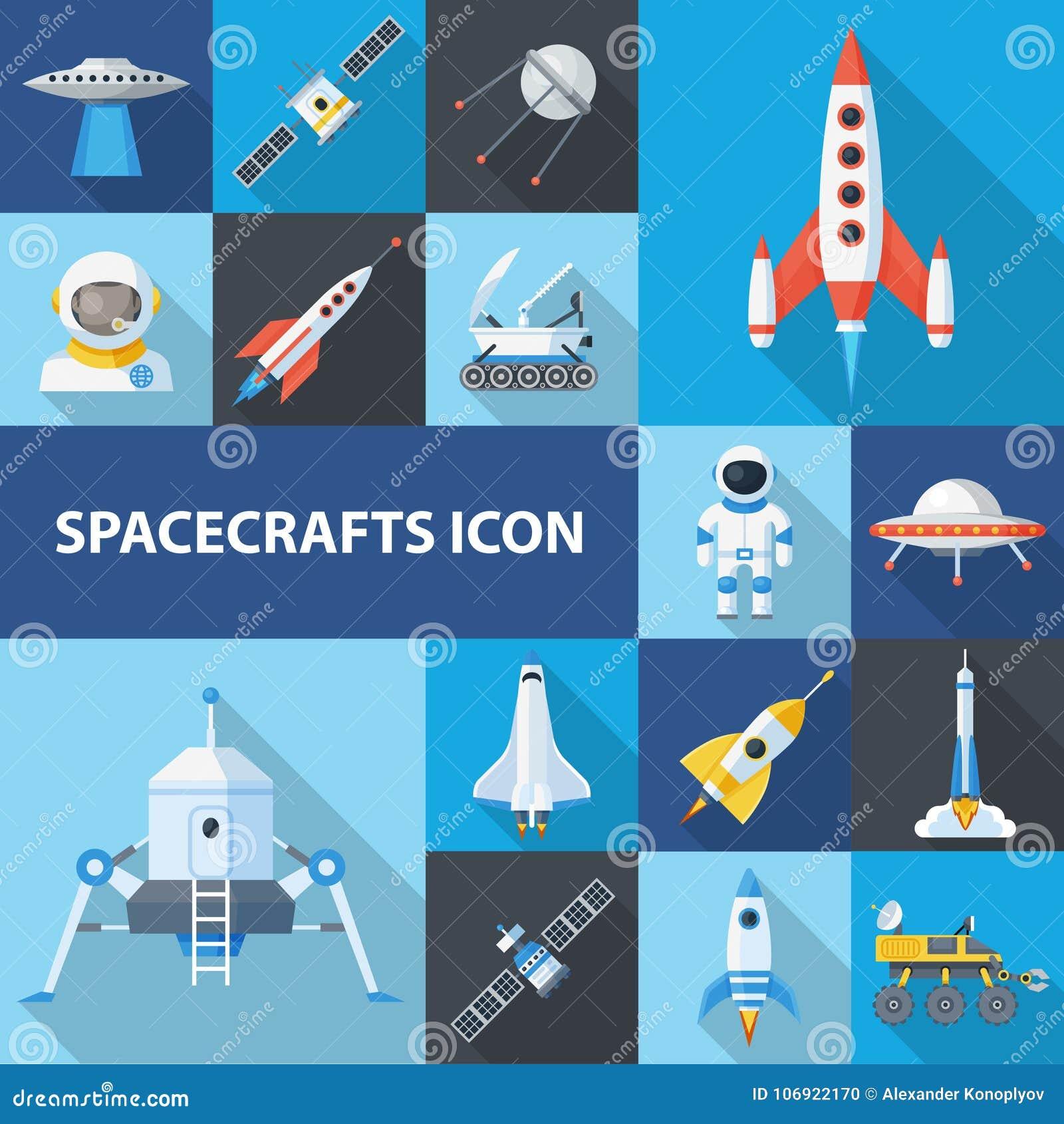 Statek kosmiczny ikony set