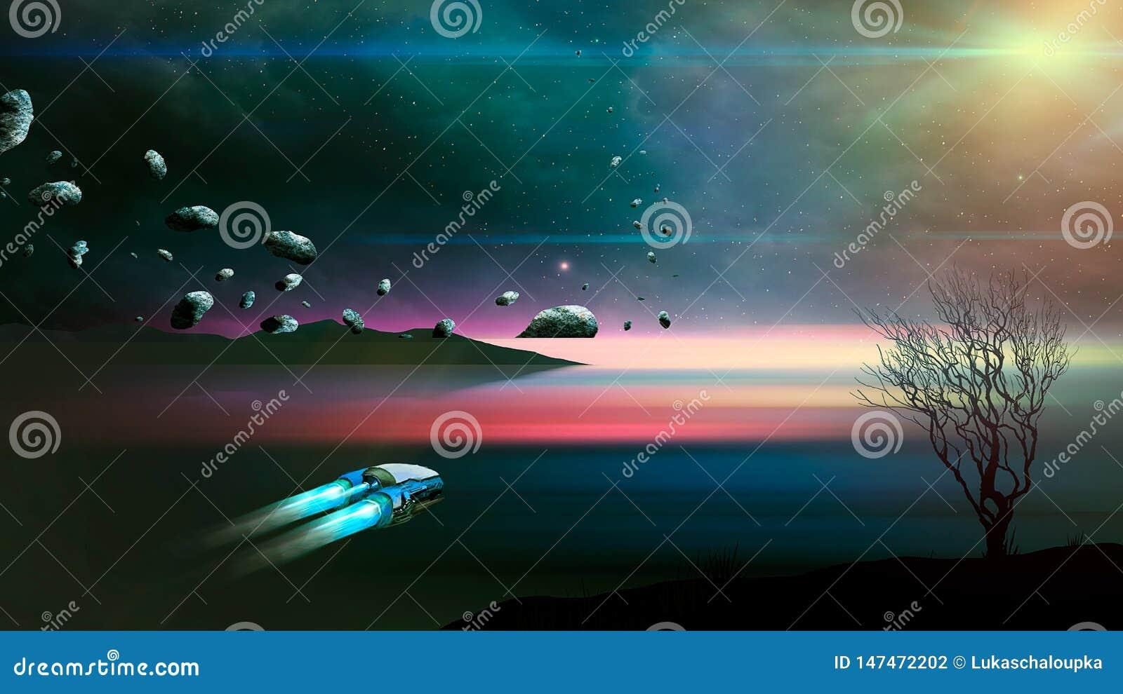 Statek kosmiczny komarnica w fantastyka naukowa krajobrazie z asteroidą, drzewo blured wodę i mgławicę abstrakcjonistycznego t?a