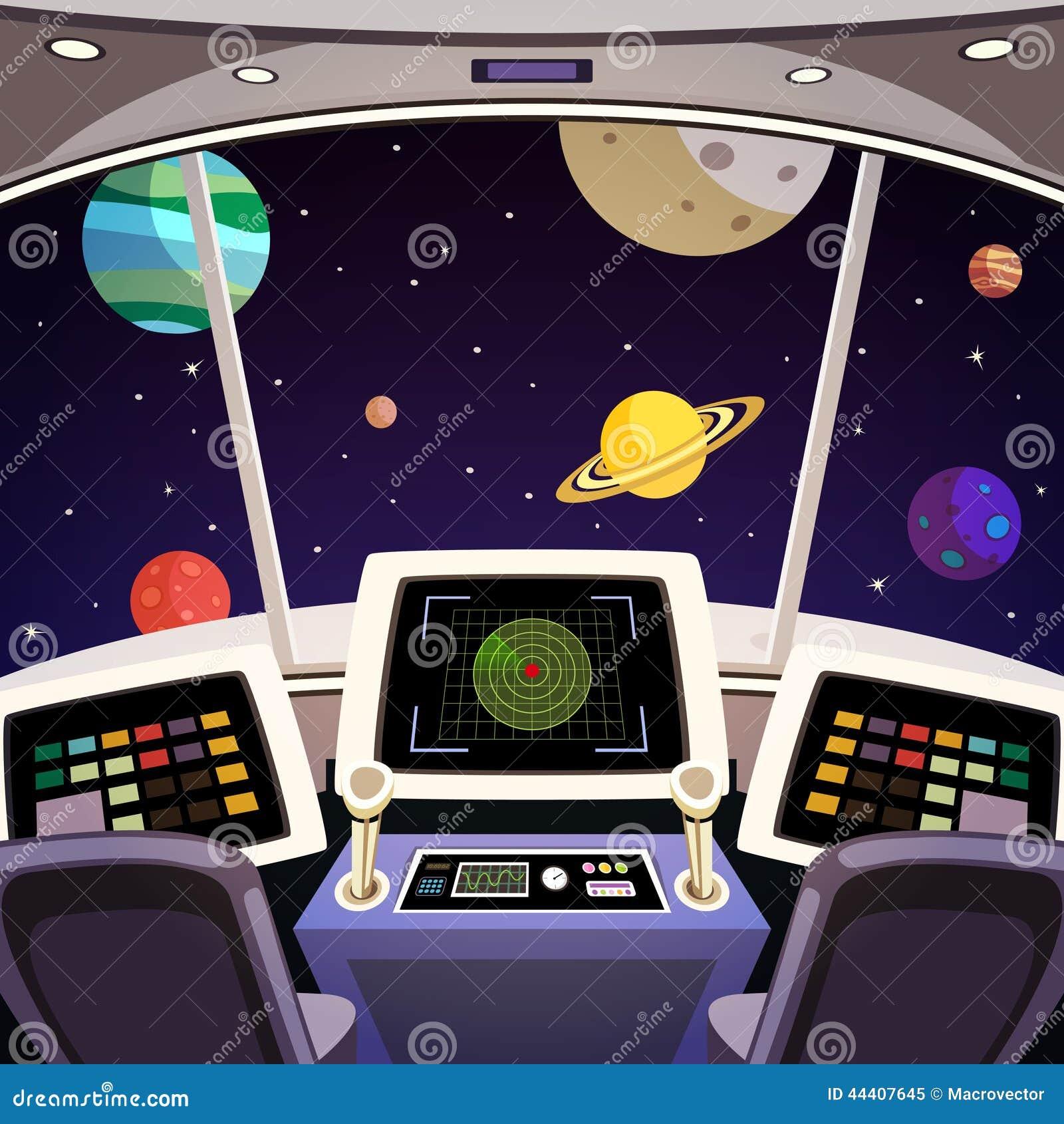 Statek kosmiczny kreskówki wnętrze