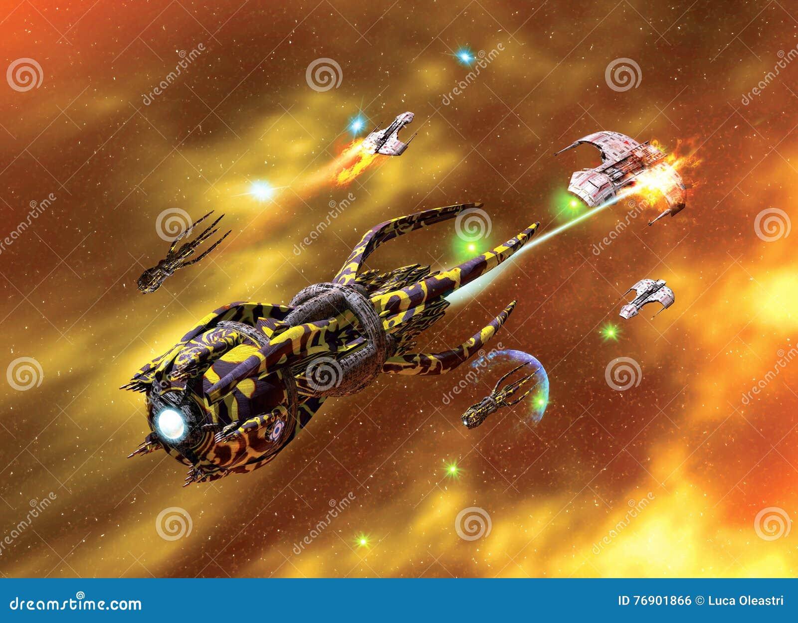 Statek kosmiczny mgławica i niszczyciel