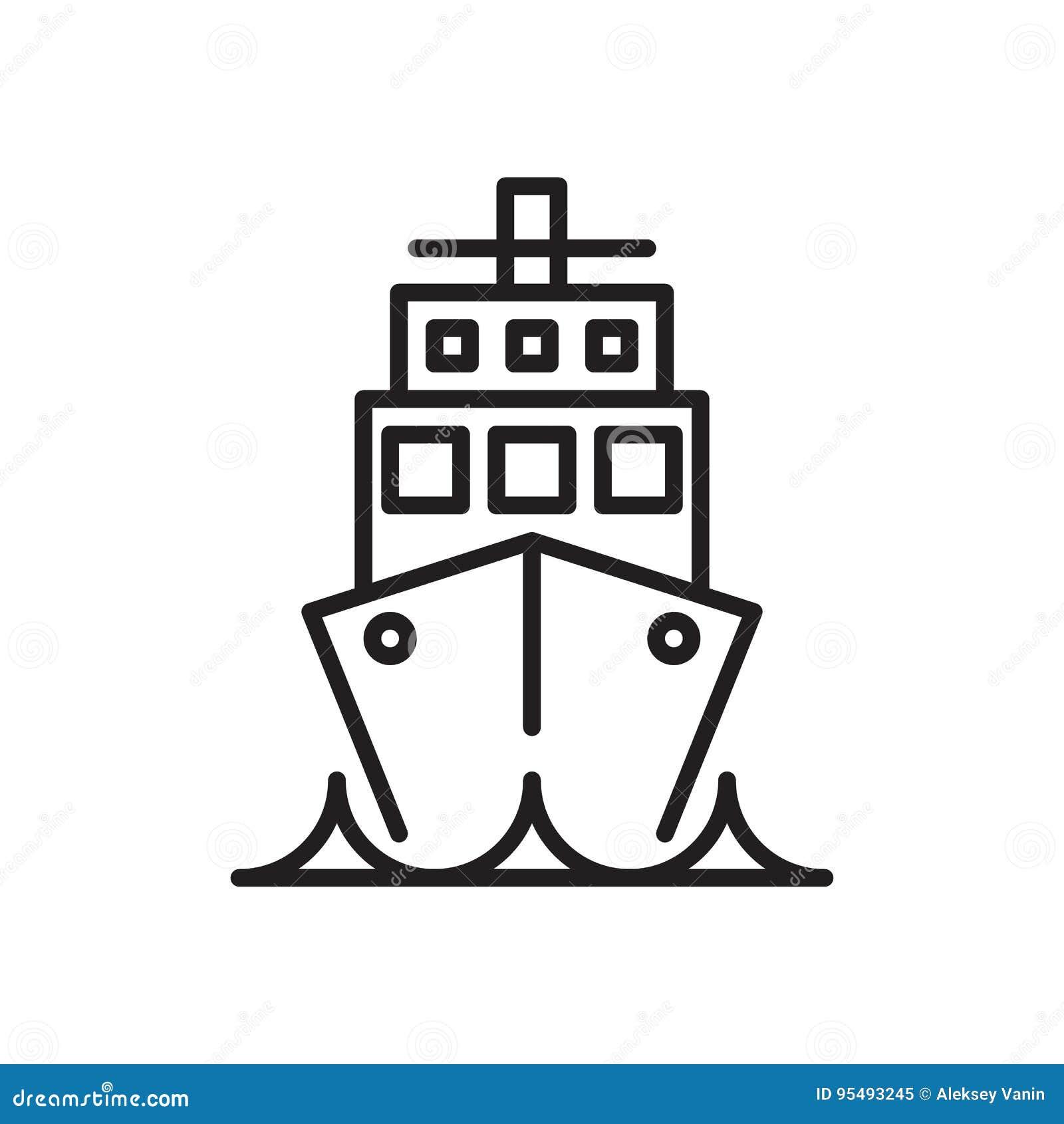Statek, rejsu liniowa linii ikona, konturu wektoru znak, liniowy stylowy piktogram odizolowywający na bielu