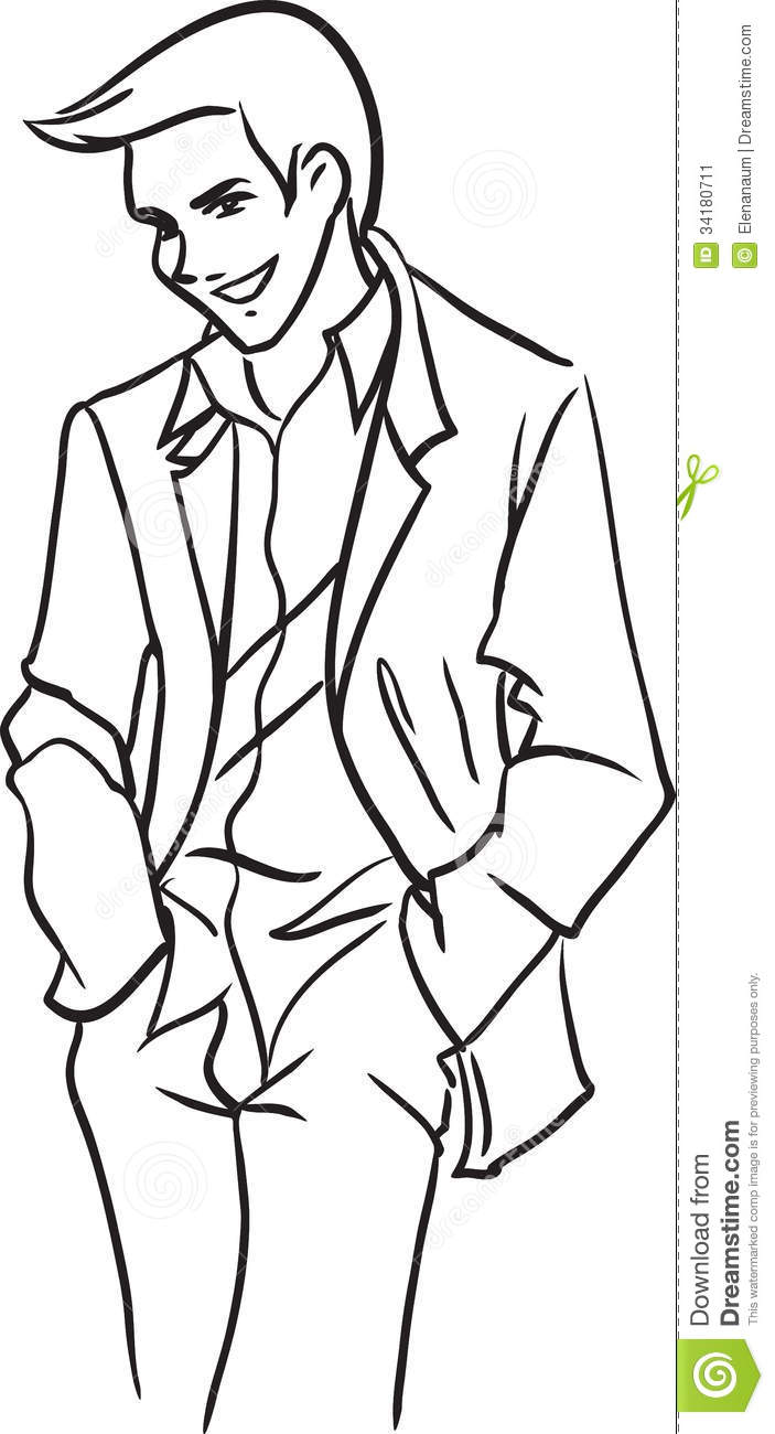 Line Drawing Man : Stately bridegroom in a light jacket stock vector