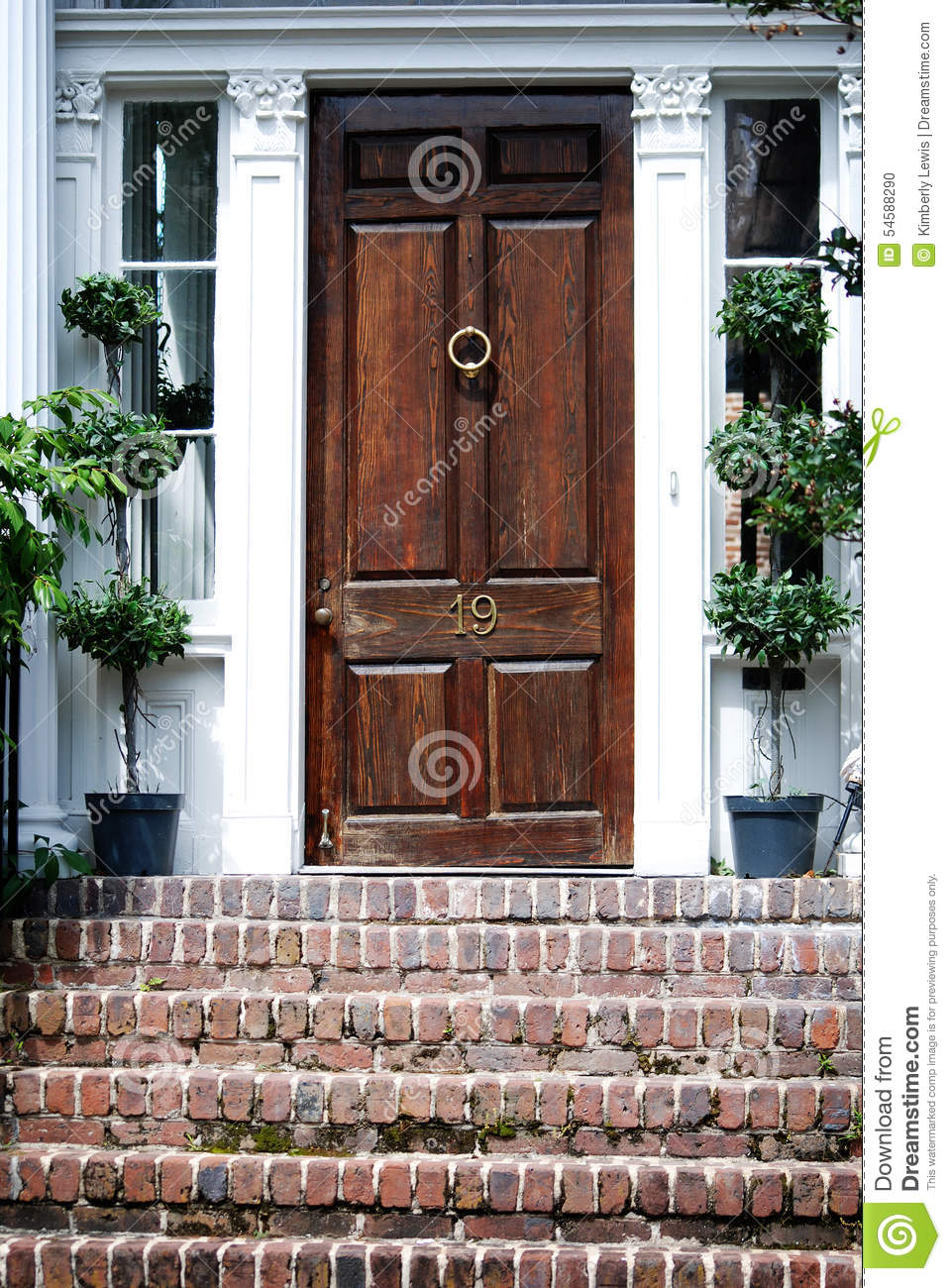Stately wooden door with topiary on each side and brick stairs in Charleston, South Carolina.