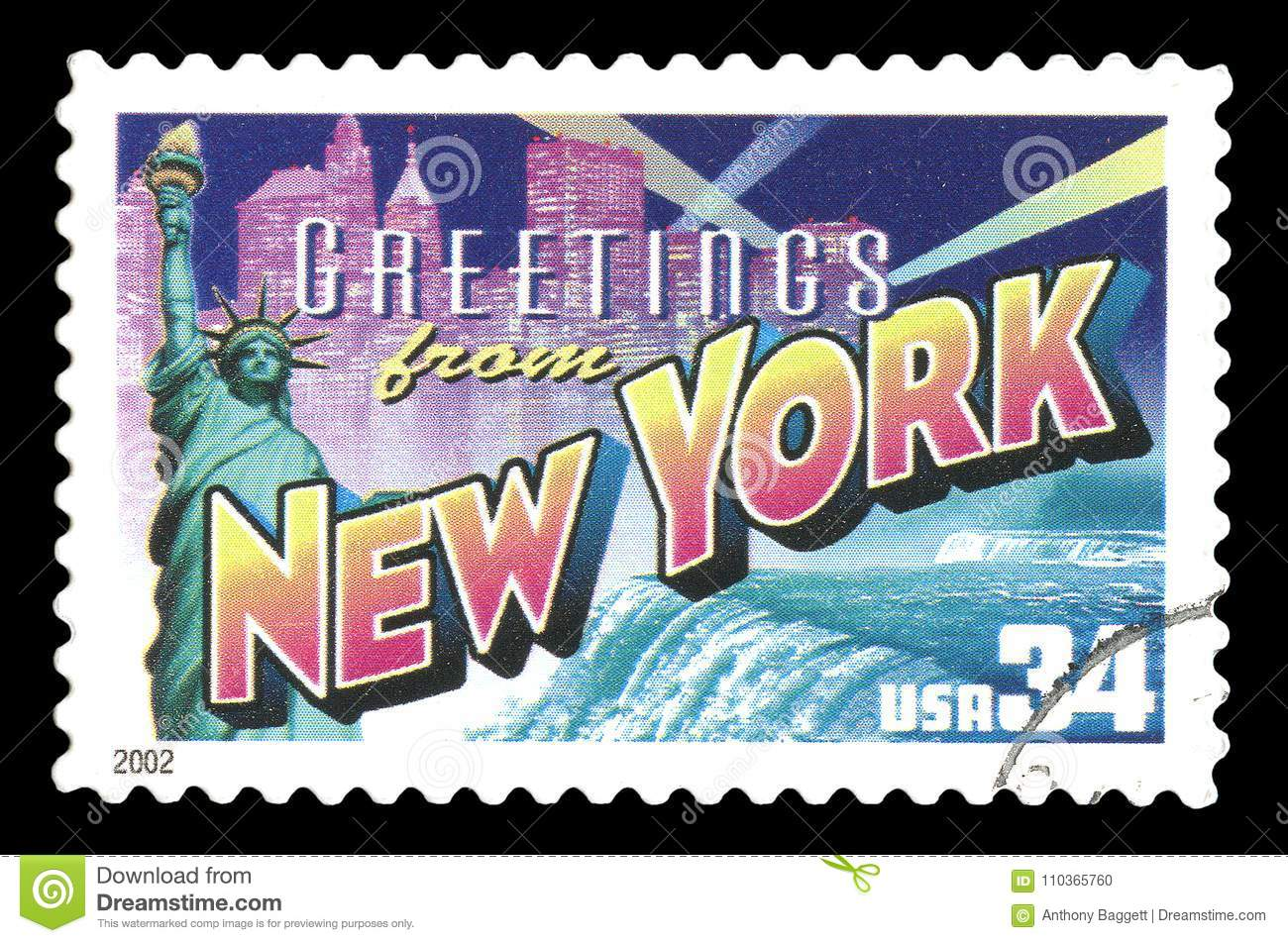 States of america cancelled postage stamp showing greetings from new states of america cancelled postage stamp showing greetings from new york cit kristyandbryce Images