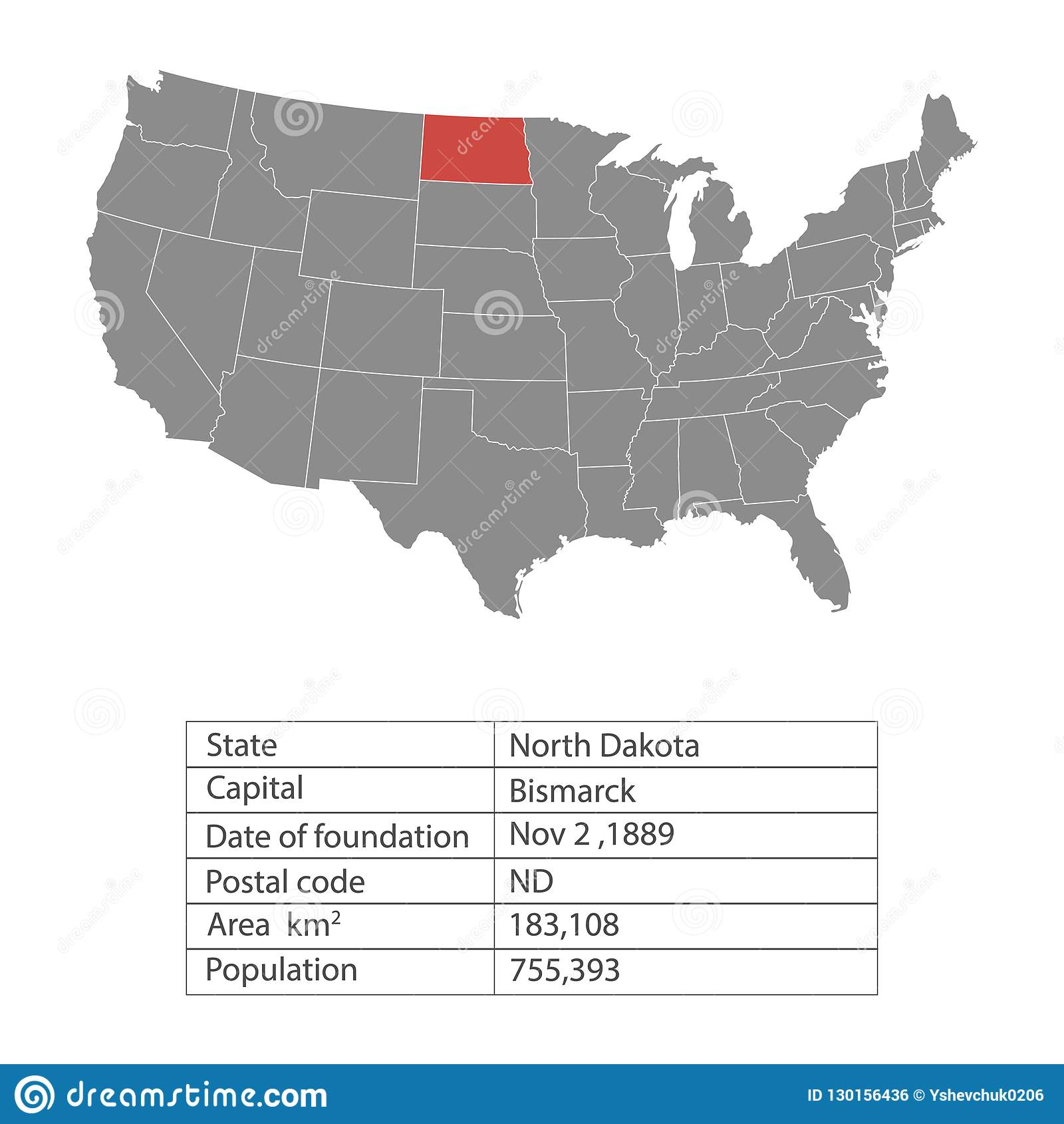 States of America territory on white background. North Dakota. Separate state. Vector illustration
