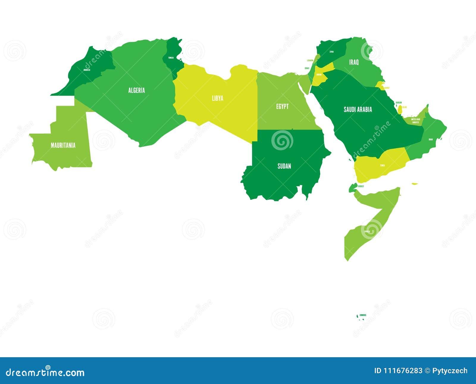 Mondo Arabo Cartina.Stati Del Mondo Arabo Una Mappa Politica Di 22 Paesi Di Lingua Araba Della Lega Araba L Africa Del Nord E Medio Oriente Illustrazione Vettoriale Illustrazione Di Morocco Asia 111676283