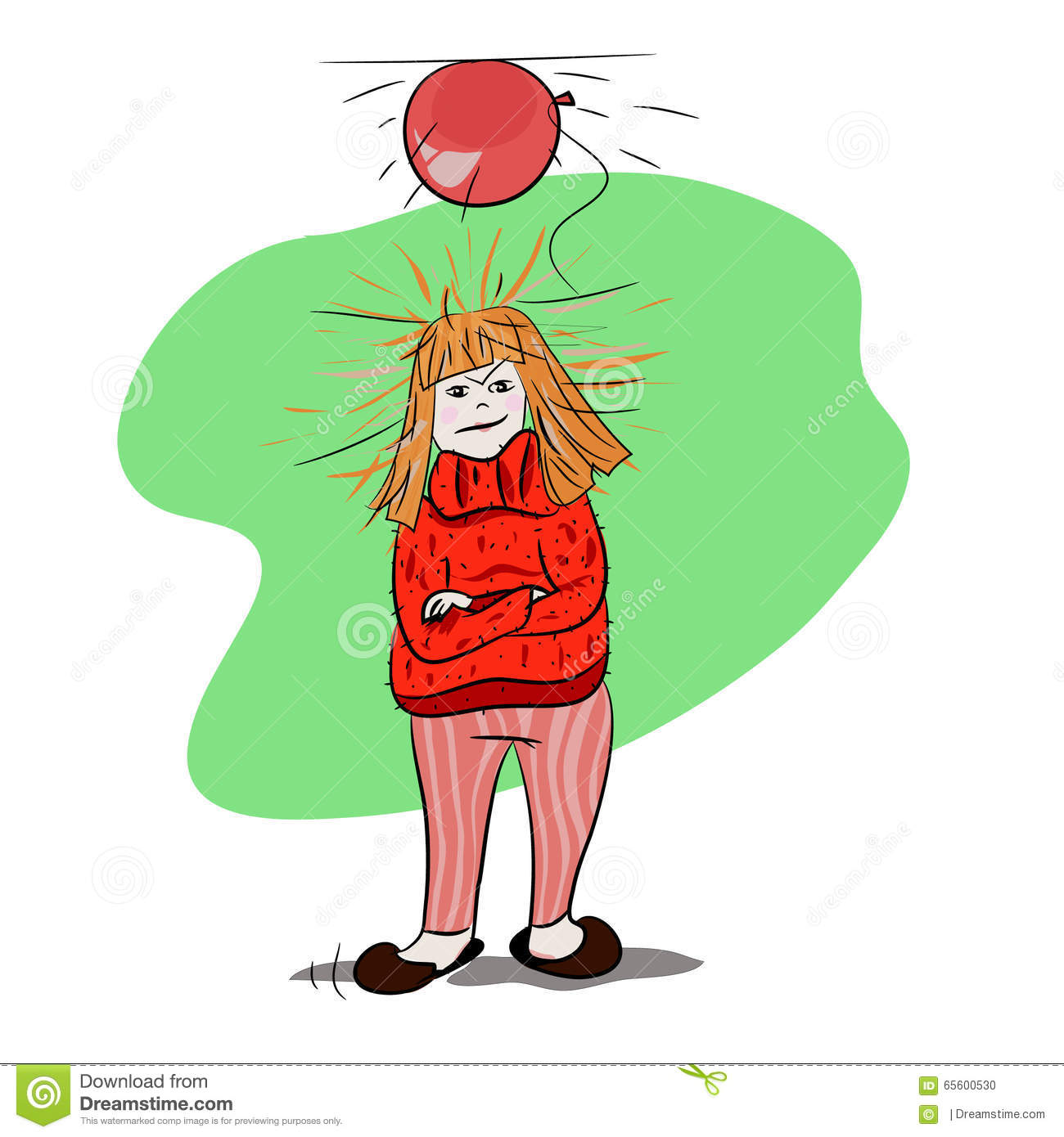 Static Electricity Irritated Girl In Winter Wearing A Sweater Stock Photo
