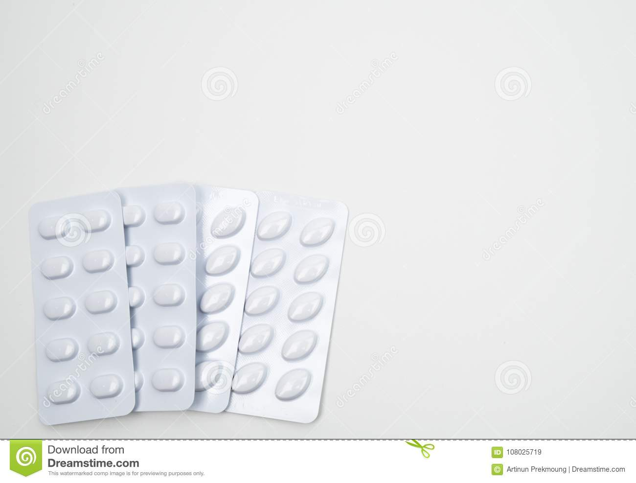 Statins tablets pill in white blister pack
