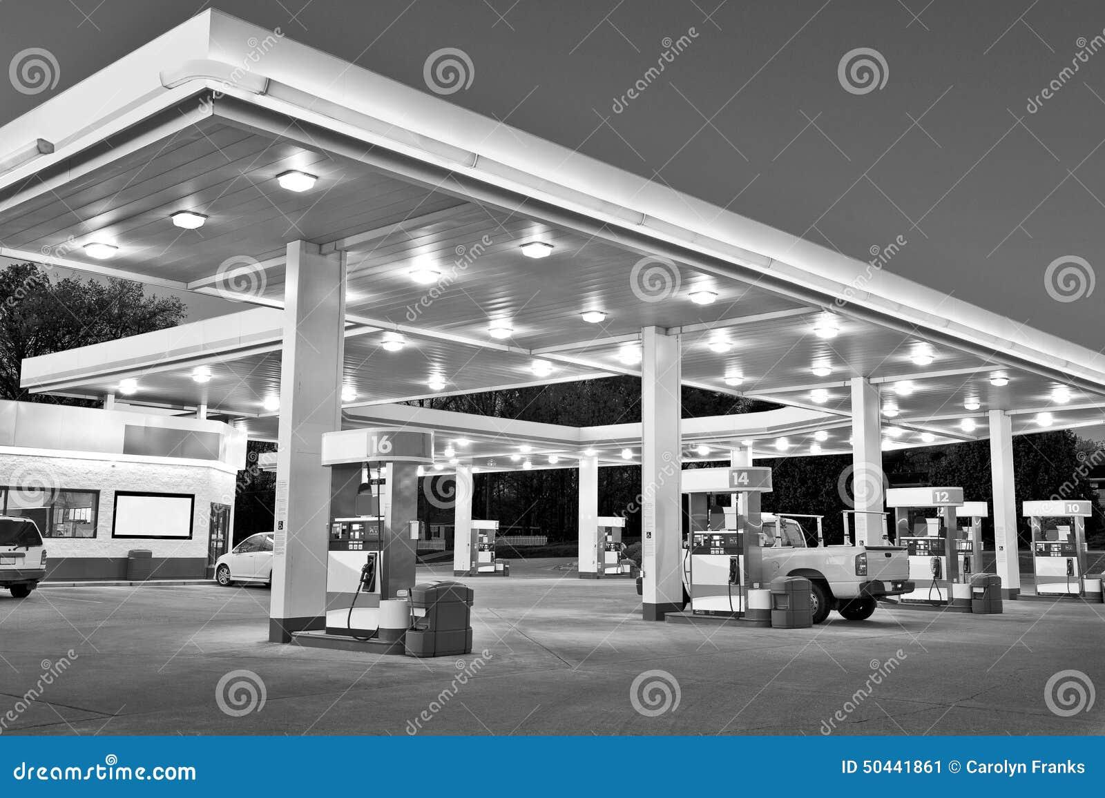 Station et épicerie d essence détaillantes noires et blanches