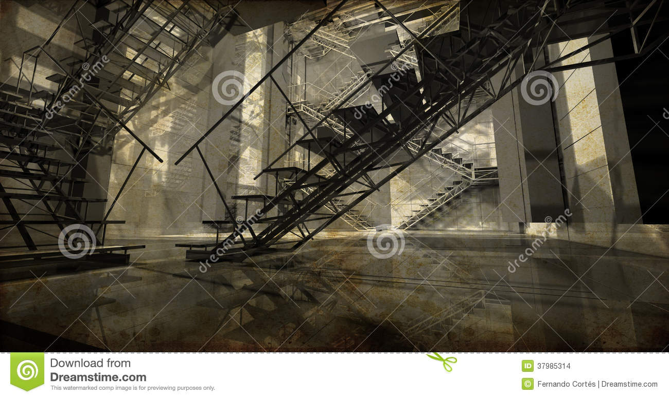 Station Modern Industrial Interior Stairs Clean Space