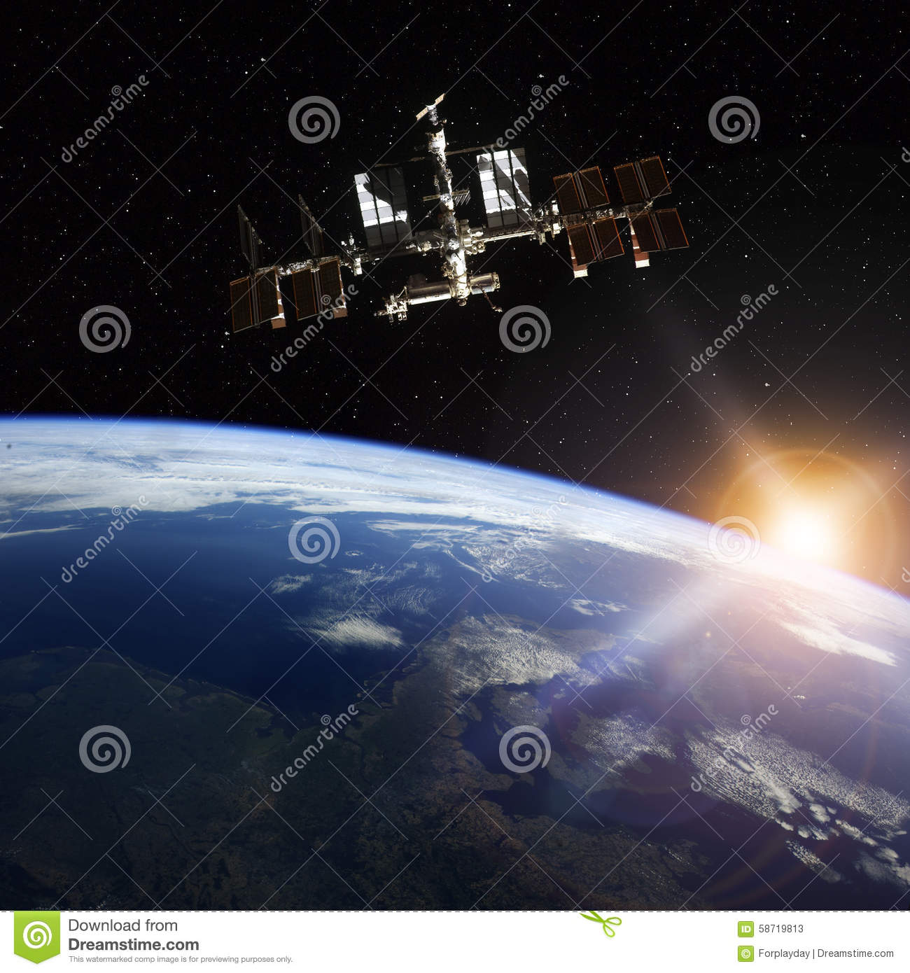 Station spatiale satellisant la scène d Earth