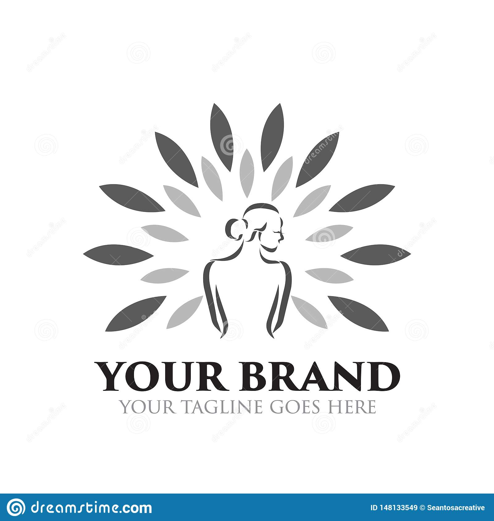 Station thermale et logo de beauté - vecteur