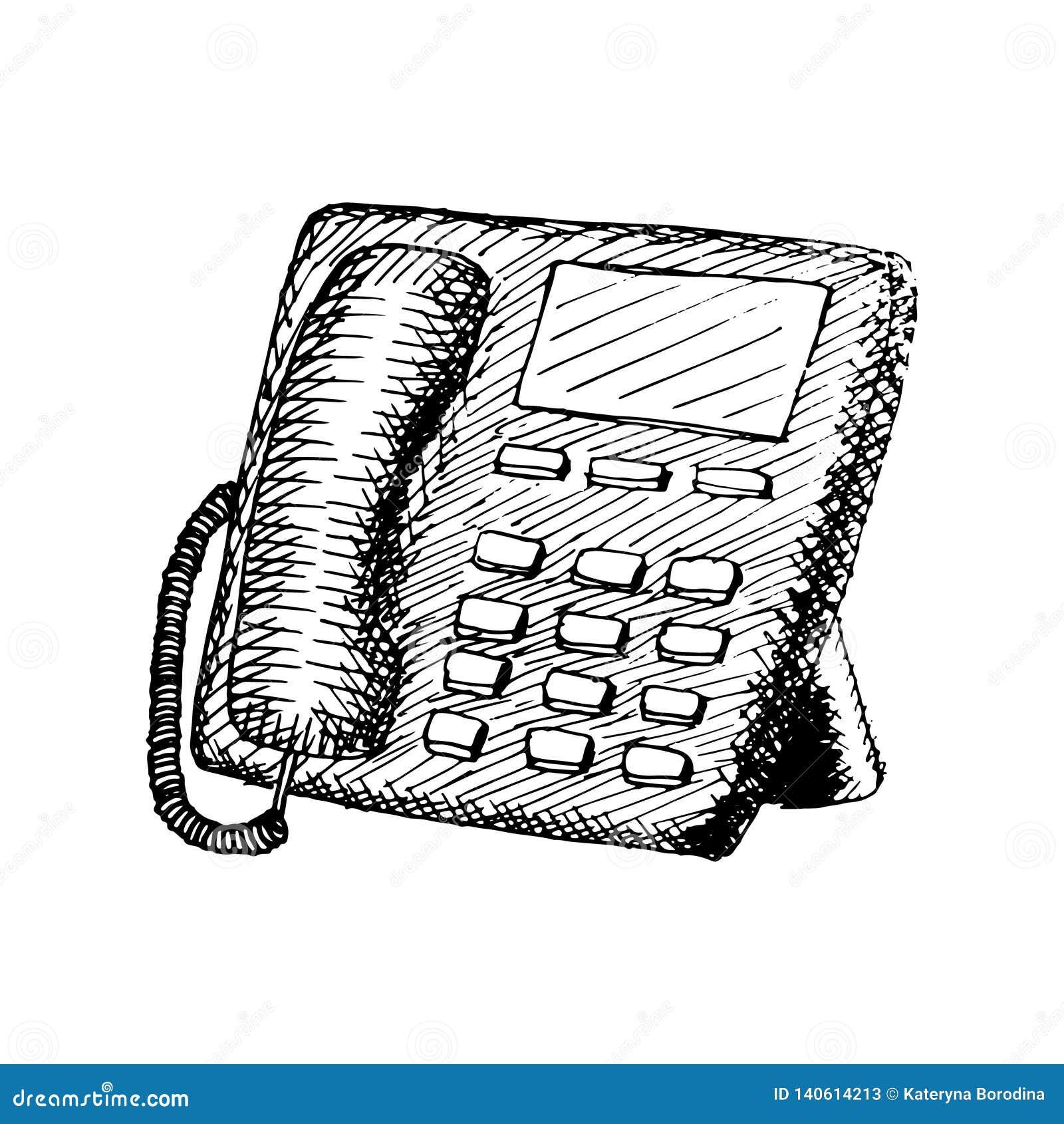 Stationaire telefoon met knopen Uitstekende hand getrokken illustratie
