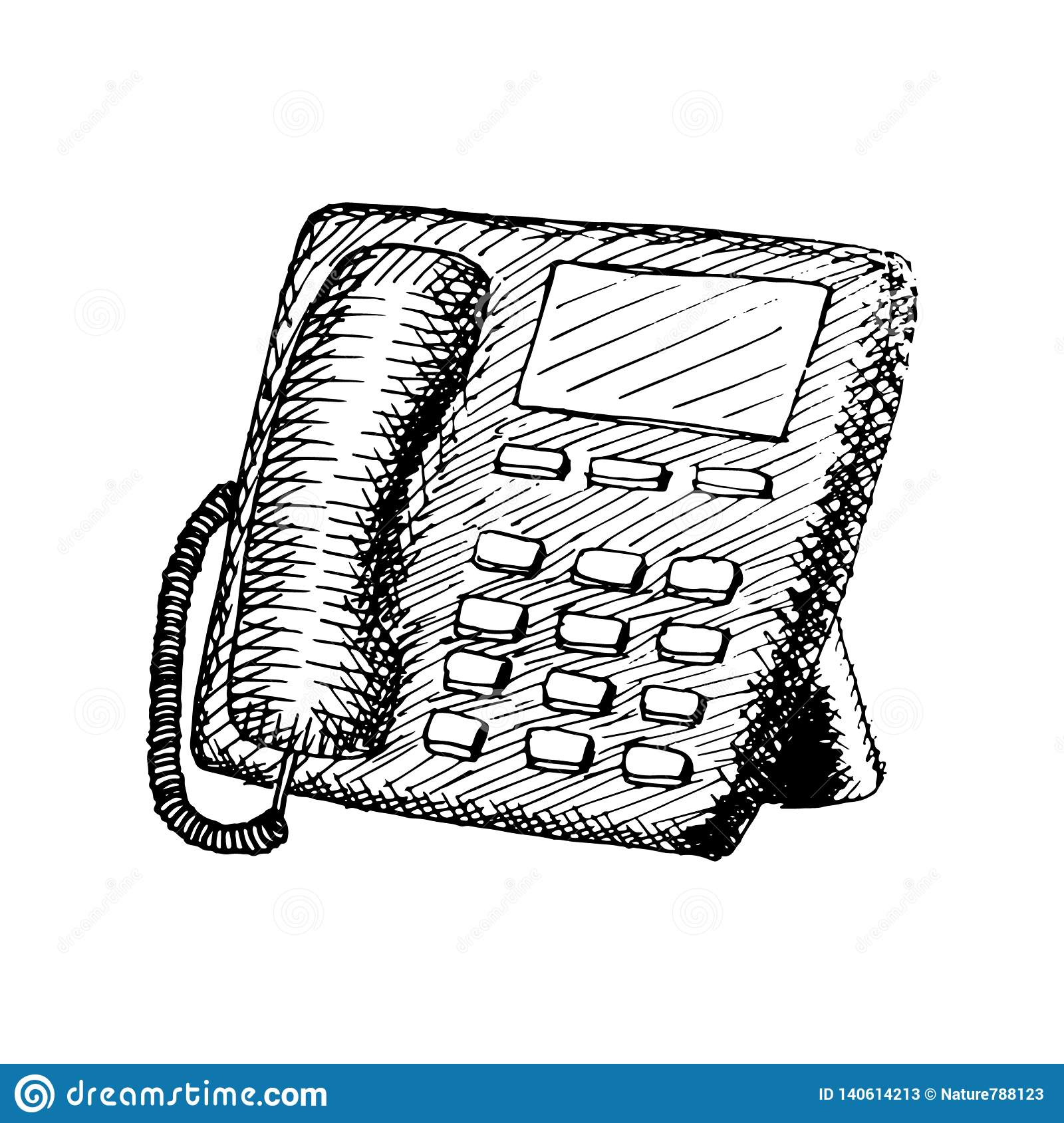 Stationary phone with buttons. vintage hand drawn illustration