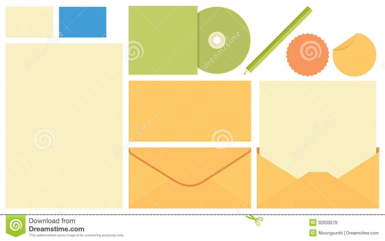 Stationary Template, Envelope, CD Cover, Pen, Card Stock Vector