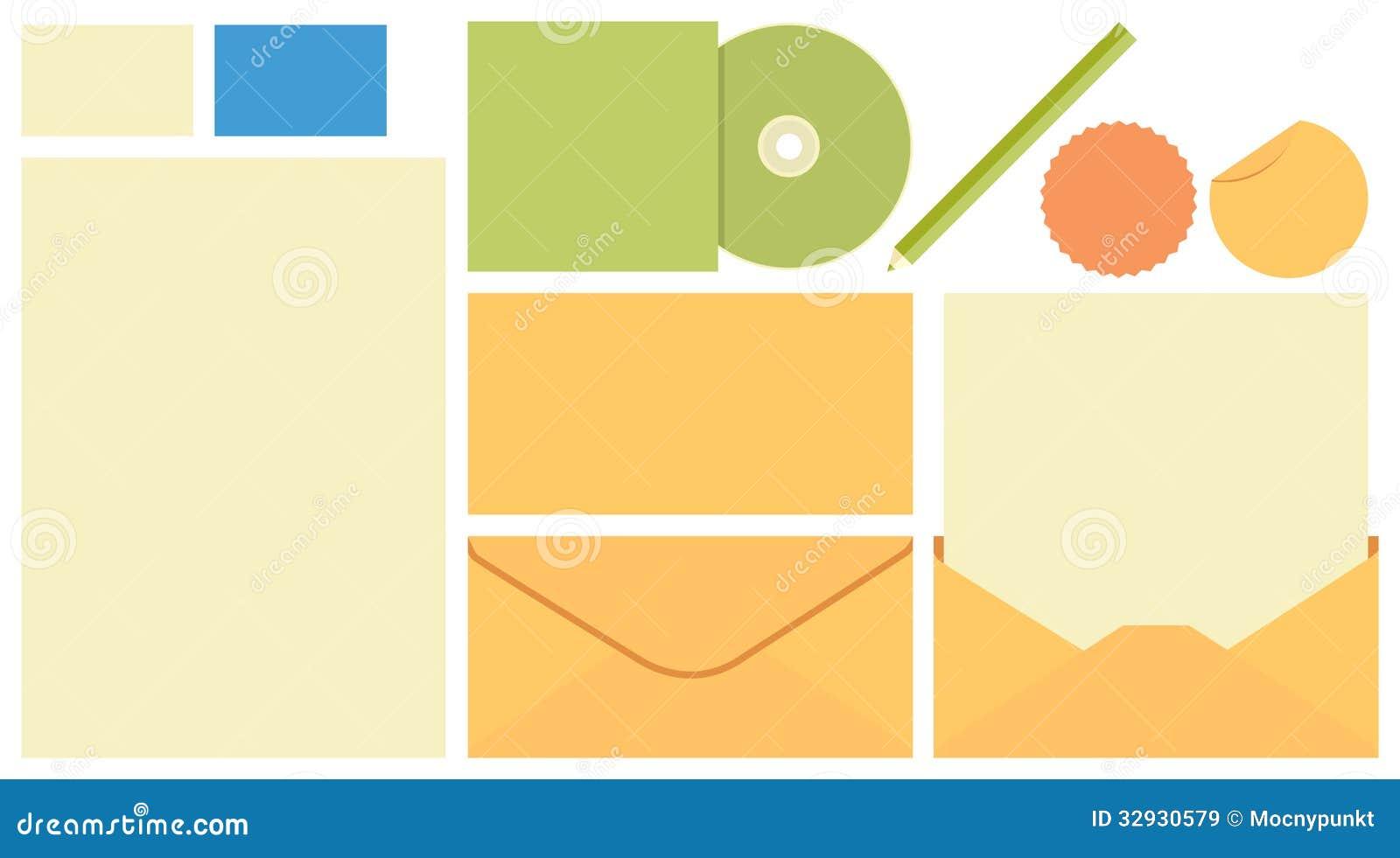 stationary template envelope cd cover pen card stock vector image 32930579. Black Bedroom Furniture Sets. Home Design Ideas