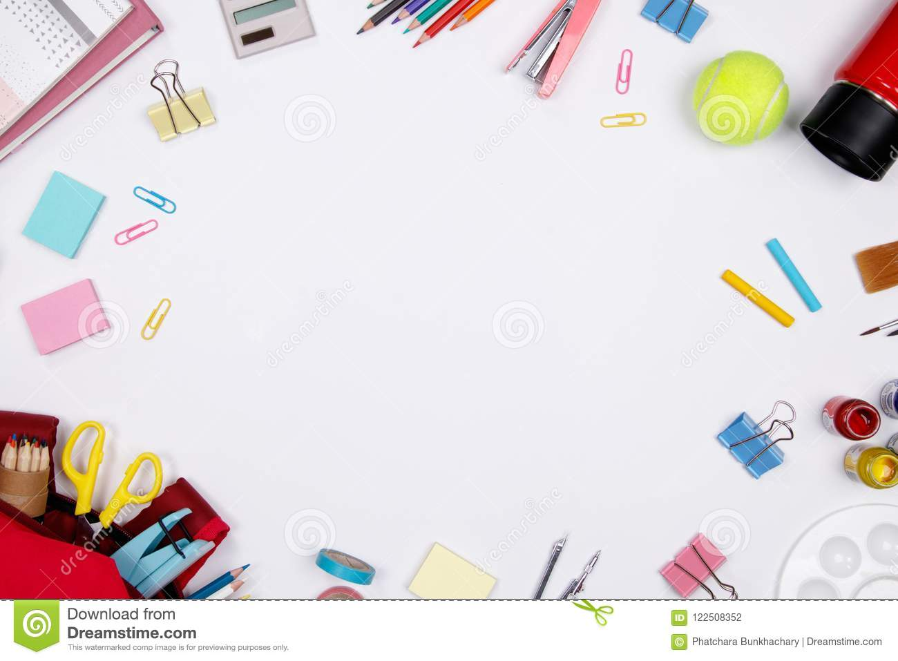 stationeries and office supplies on white background  flat
