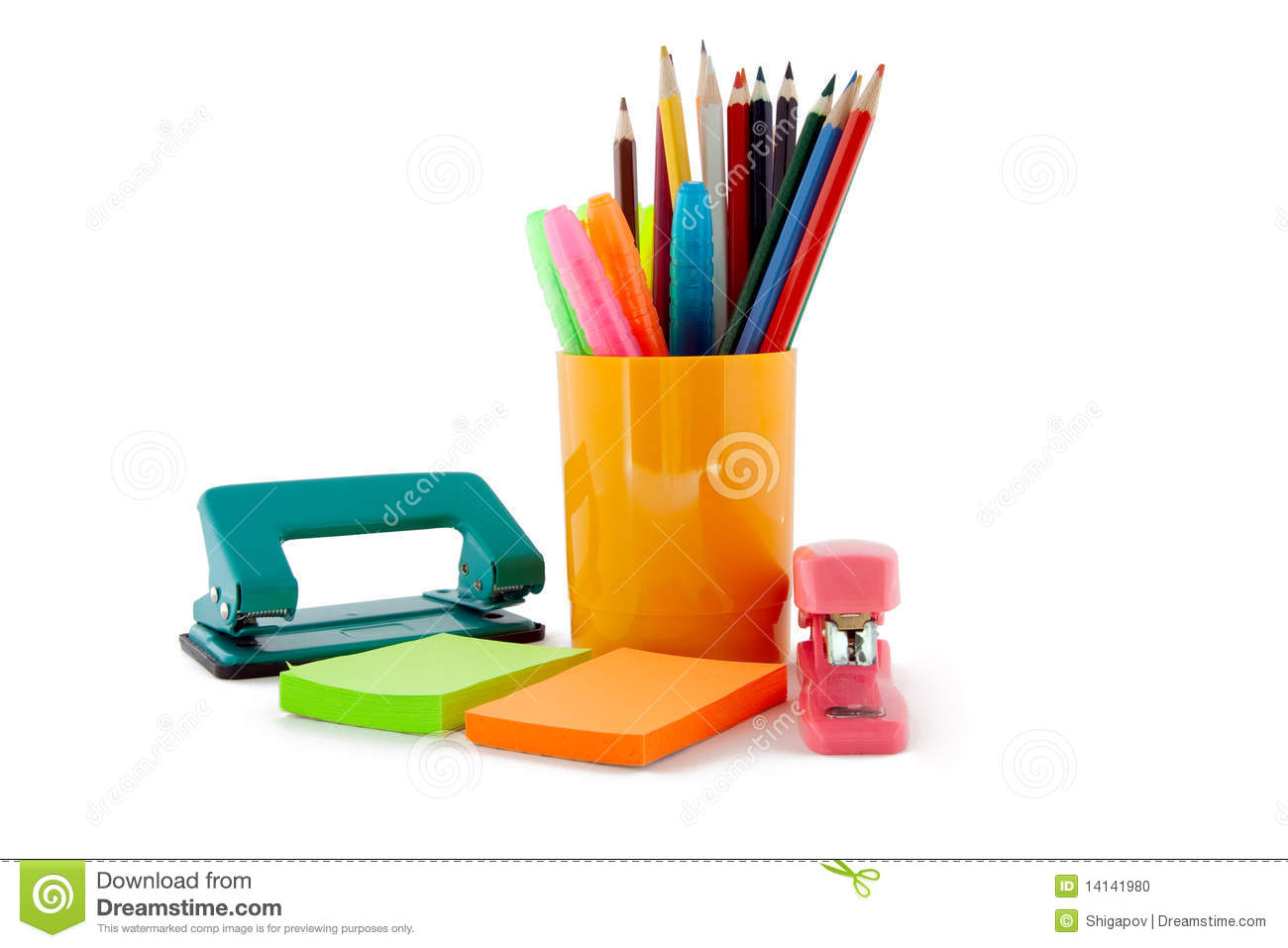 Stationery isolated on a white background.